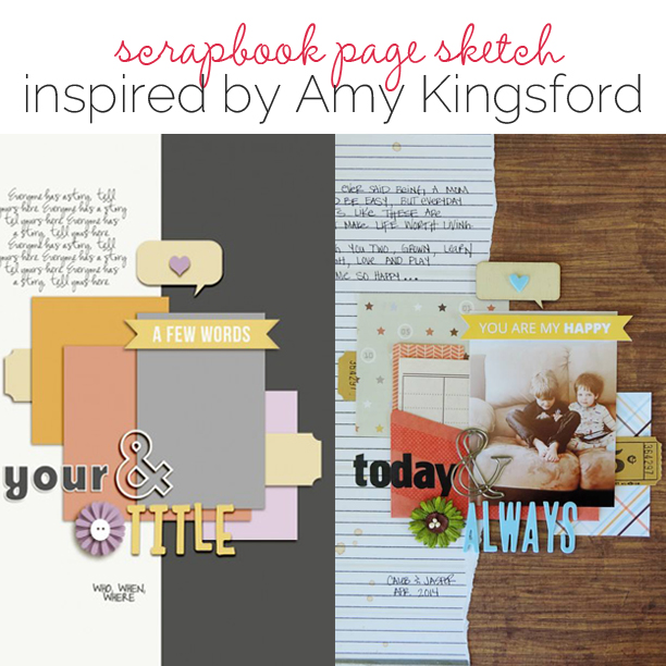 Scrapbook Page Sketch and Template #99 | Get It Scrapped