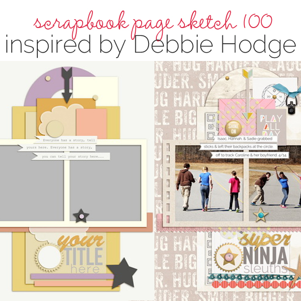Scrapbook Page Sketch and Template #100   Get It Scrapped
