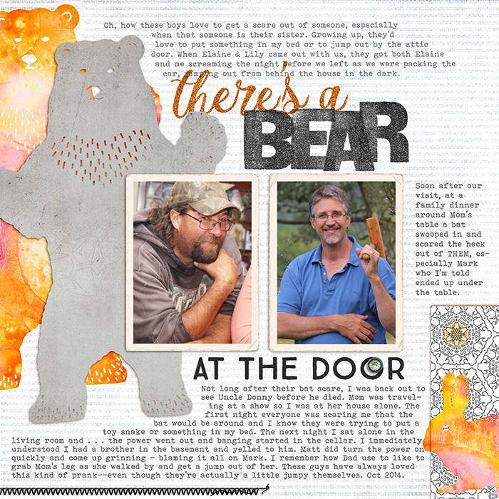 There's a Bear at the Door by Debbie Hodge | Supplies: The Spring Collection by Julia Dreams from Hungry Jpeg; Walden, Worn Photo Edges 4 by Lynn Grieveson; Straight Stitched Black by Anna Aspnes; Shine by Laurie Ann; Paintshop Styles, NYRG Styles by Just Jaimee; Vintage Woodcut Alpha by Mommyish; Melliana, True North, Bohemian Typewriter fonts