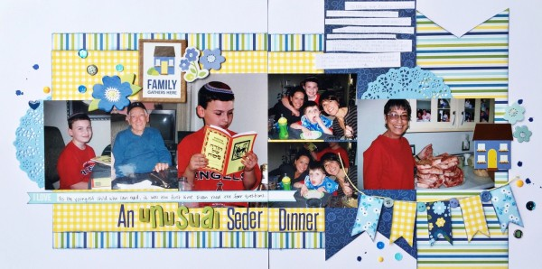 An Unusual Seder Dinner by Devra Hunt | Supplies: CS-American Crafts, PP, chipboard, stickers-Pebbles, Doilies & twine-Doodlebug Designs, sequins-Studio Calico, Michaels, buttons-Random, brads-My Minds Eye, Enamel dots-Freckled Fawn, Alphas-Jillibean Soup, American Crafts, Stickles, Mist-Tattered Angels, pen-EK Success, typewriter-Royal