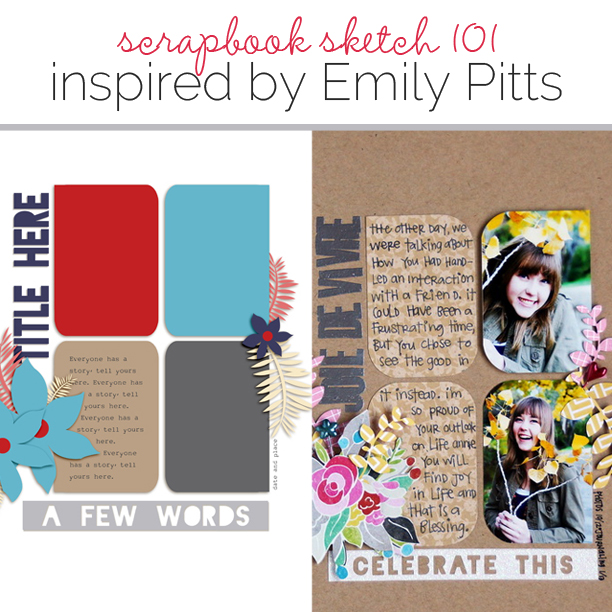 Scrapbook Page Sketch and Template #101 | Get It Scrapped