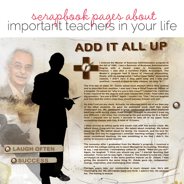 Ideas for Scrapbook Pages About An Important Teacher in  Your Life   Get It Scrapped