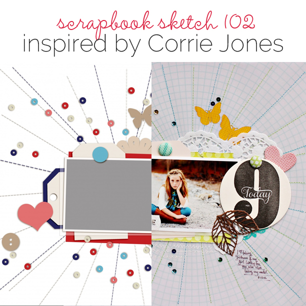 Scrapbook Page Sketch and Template #102 | Get It Scrapped