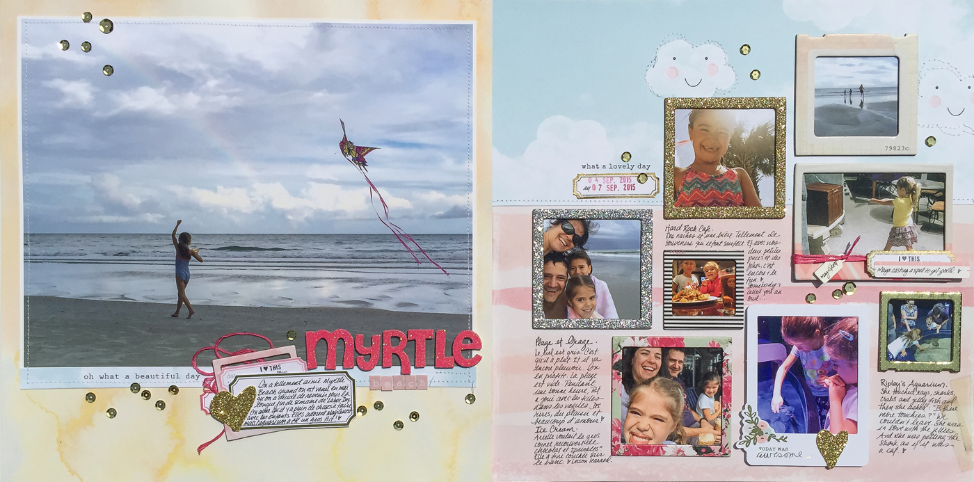 Two-Page Scrapbook Ideas for Designing with Contrasting Backgrounds