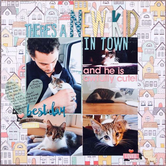 New Kid In Town by Marcia Fortunato   Supplies: Patterned Paper: Crate Paper, lily bee design; Cardstock: American Crafts; Letter stickers: Simple Stories, Thickers (American Crafts); Embellishments: Pink Paislee, Simple Stories; Studio Calico; Washi tape: Queen & Co.; Pens/Markers: LePen (Marvy-Uchida); Other: vellum.