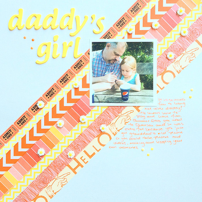 Daddy's Girl by Margareta Carlsson   Supplies: Cardstock: American Crafts; Washi tapes; Studio Calico and no specific brand; Letters: Pink Paislee Expressions; Resin flower: no specific brand; Enamel dots; no specific brand.