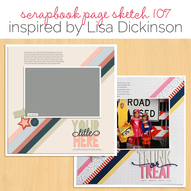 Scrapbook Page Sketch and Layered Template #107   Get It Scrapped