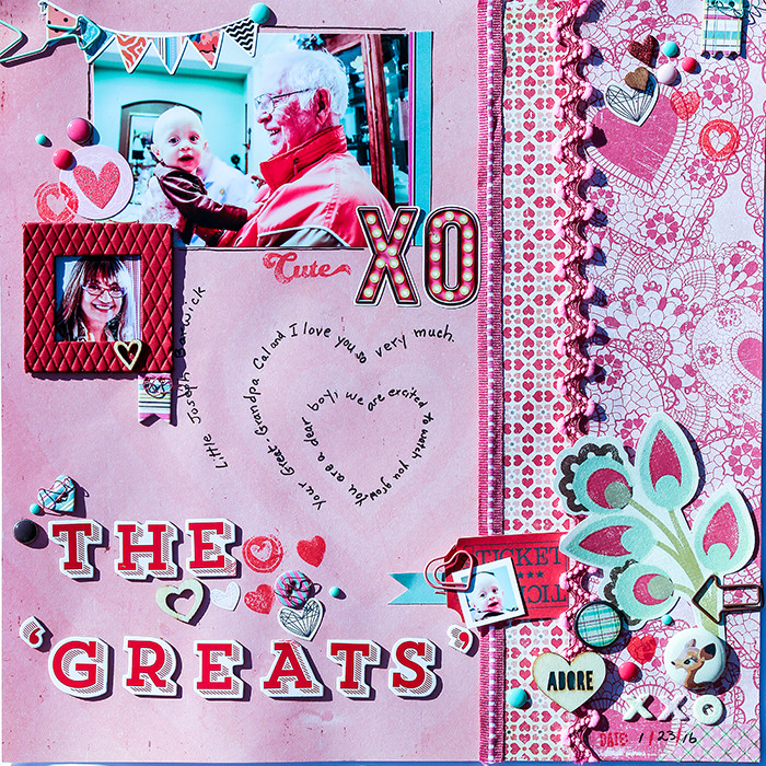 How to Use Scale and Density Differences to Mix Patterned Paper on the Scrapbook Page | Karen Poirier-Brode | Get It Scrapped