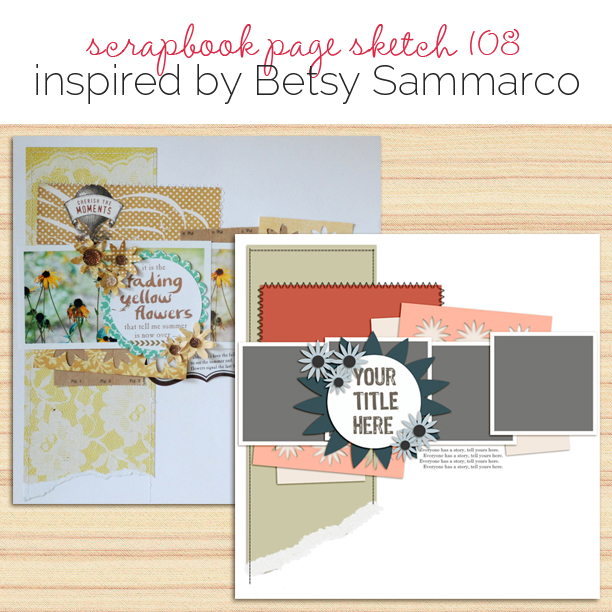 Scrapbook Page Sketch and Layered Template #108 | Get It Scrapped