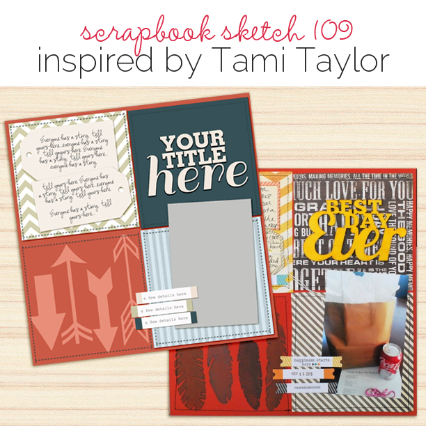 Scrapbook Page Sketch and Layered Template #109 | Get It Scrapped
