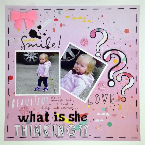 What Is She Thinking? by Sue Althouse | Supplies: Cardstock: Bazzill; Patterned Paper: Pinkfresh Studio; Stencils: Tim Holtz; Embossing Paste: Studio 490; Silhouette: Swirl Dance Font; Alphabets: American Crafts; Floss: We R Memory Keepers; Buttons: Queen & Co.; Bow: Bella Blvd.
