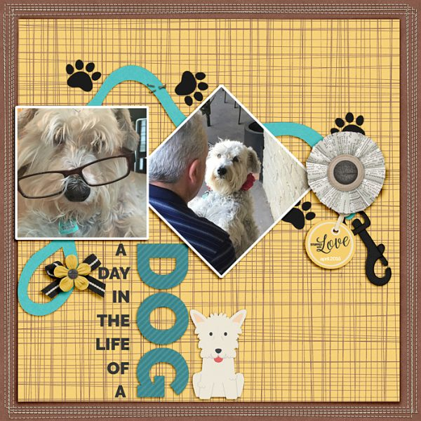 A Day in the Life of a Dog by Ronnie Crowley | Supplies: A. Pennington - Brilliant; K.Aagard - Page Border Stitches, Word Art World - A dog's life