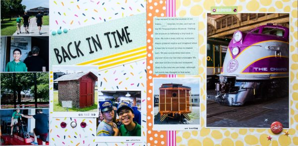 Back in Time by Kelly Sroka | Supplies: Patterned Paper: Imaginisce, Echo Park, Simple Stories, Elle's Studio; Brads, Echo Park; Flair, A Flair for Buttons; Puffy Stickers, Elle's Studio; Stamps, Citrus Twist Kits; Ink, Ranger; Resin Flowers, Maya Road; Letter Stickers, American Crafts