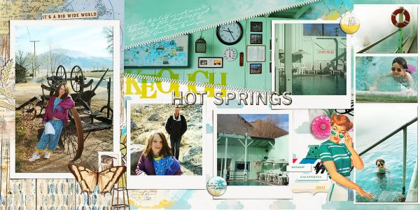 Keogh Hot Springs by Lynn Grieveson | Supplies: Lynn Grieveson: Blue Skies Ahead Kit, Blue Skies Ahead Transfers, Big Sky Kit; Mommyish: Mercury Glass PS Styles; Paula Kesselring: Summer Days Mixed Media; Fonts: Jellyka Gare du Chambord and Oklahoma; Get It Scrapped: Template for Scrapbook Coach 19. Made by Debbie Hodge. Inspired by layout by Shelly Jaquet.