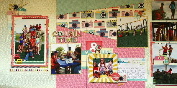 Cousin Time by Nicole Mackin | Patterned Paper: American Crafts (Shimelle); Ephemera & Tags: American Crafts (Shimelle); Chipboard Embellishments & Alphas: American Crafts (Shimelle); Chipboard Cameras: Studio Calico; Clips: American Crafts (Shimelle); Twine: My Minds Eye.