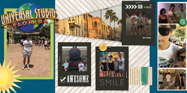 Universal Studios, Florida by Ronnie Crowley | Supplies - Get It Scrapped - Scrapbook Coach Template; Chelle Creations - Rainbow Greens; Creashens - Penny Stitch; Flergs - A Summer Story; Gennifer Bursett - Washi Tags; Traci Stroud - Its a Date