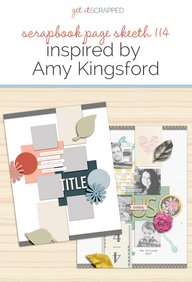 Scrapbook Page Sketch and Template #114   Get It Scrapped