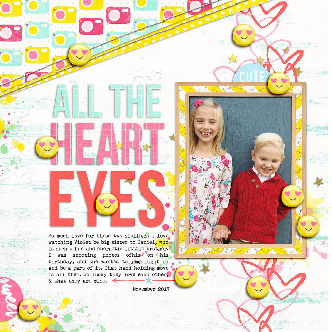 Ideas for Scrapbook Page Storytelling with an Emoji Motif | Lynnette Wilkins | Get It Scrapped