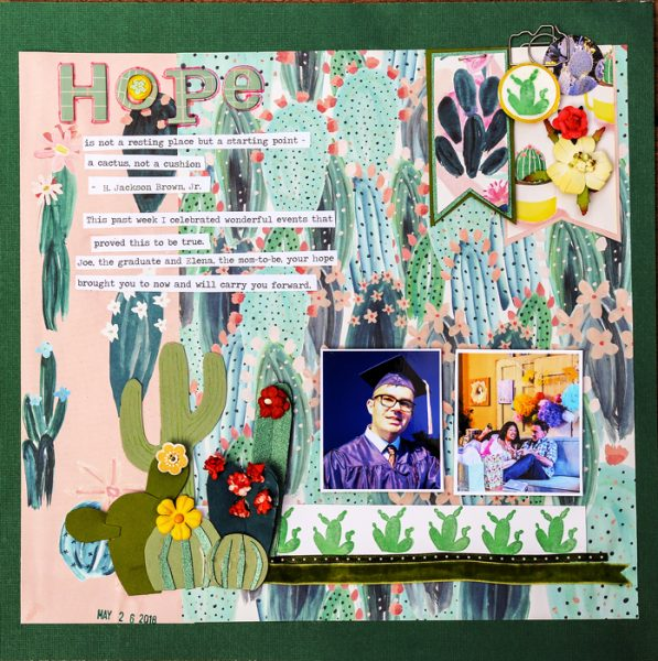 Ideas for Scrapbook Page Storytelling with a Succulent Motif | Karen Poirier-Brode | Get It Scrapped