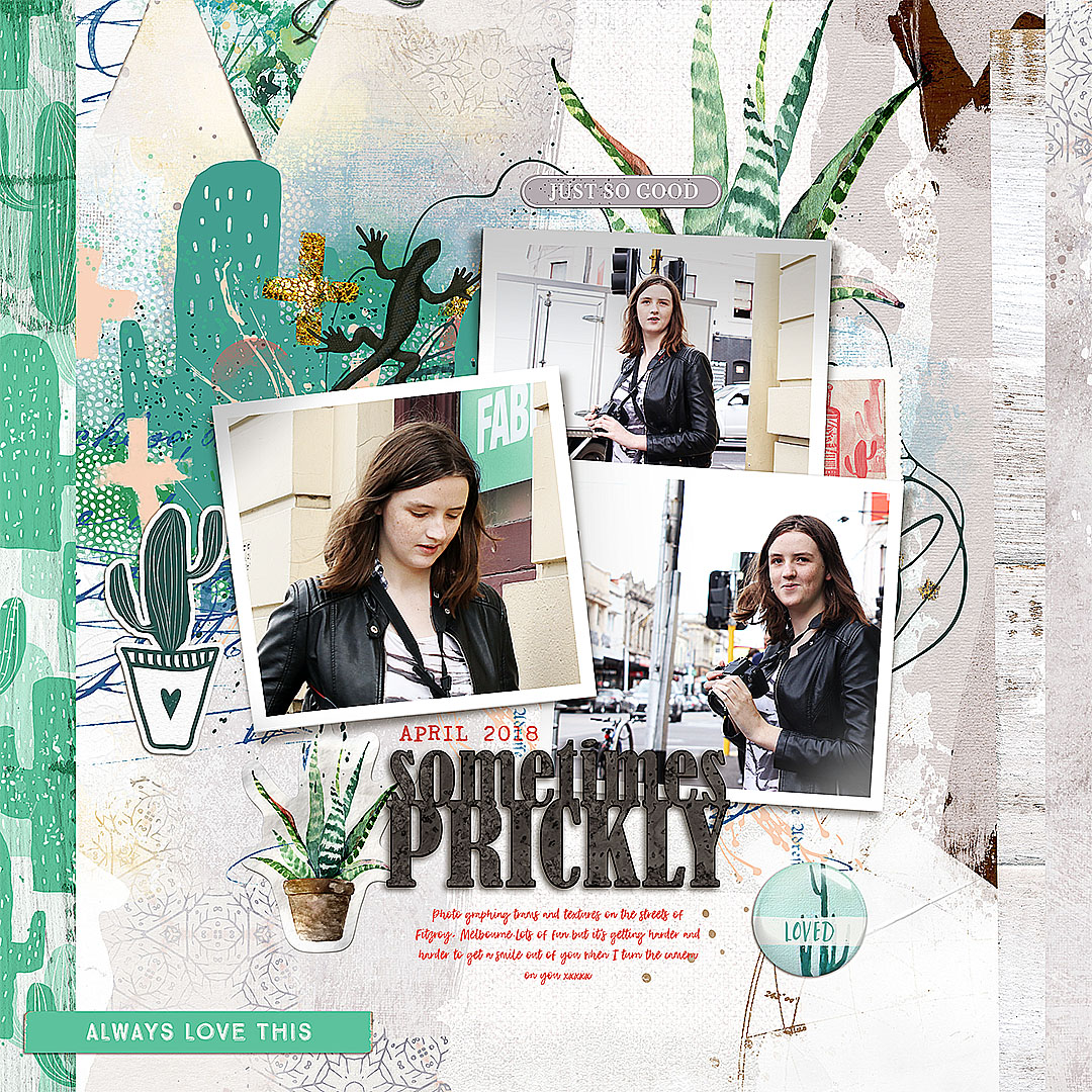 Ideas for Scrapbook Page Storytelling with a Succulent Motif