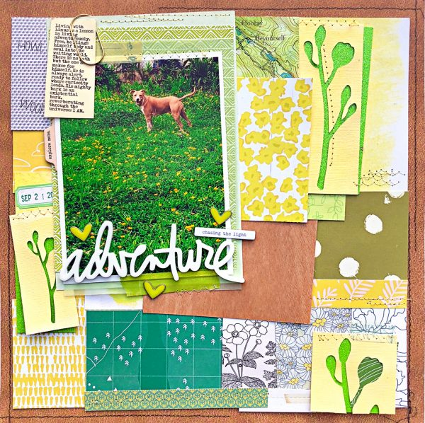 Scrapbook Ideas for Using a Pieced or Collage Base as a Backdrop | Jill Sprott | Get It Scrapped