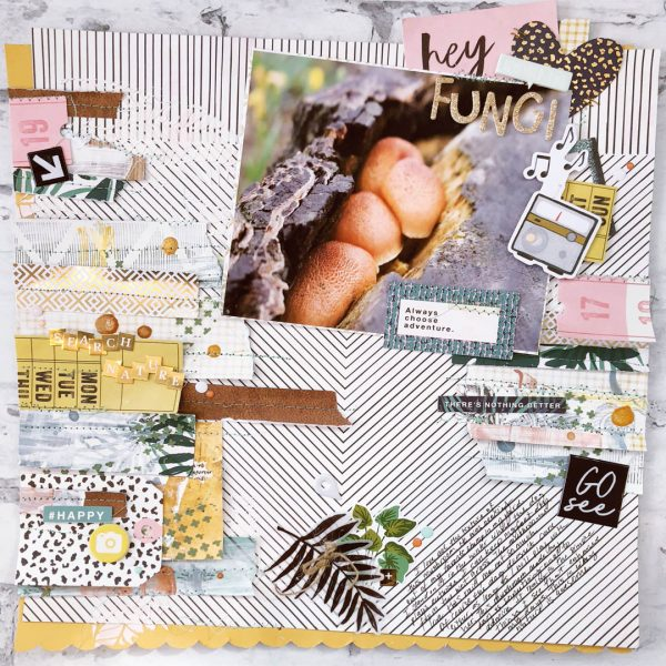 Scrapbook Ideas for Using a Pieced or Collage Base as a Backdrop | Hannah Lemieux | Get It Scrapped