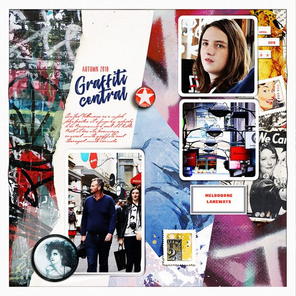 Scrapbook Ideas for Using a Pieced or Collage Base as a Backdrop | Lynn Grieveson | Get It Scrapped