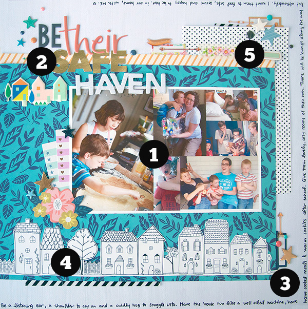 "5 Scrapbook Page ""Liftables""  from a Layout by Cara Vincens"